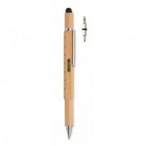 Altavoz portátil con micrófono en bambú