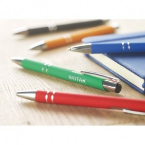 Bolígrafo metalizado con clip de metal y puntero